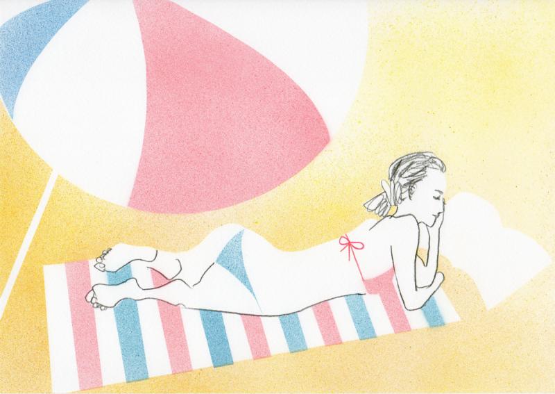 ビーチで寝転ぶ女性のイラスト