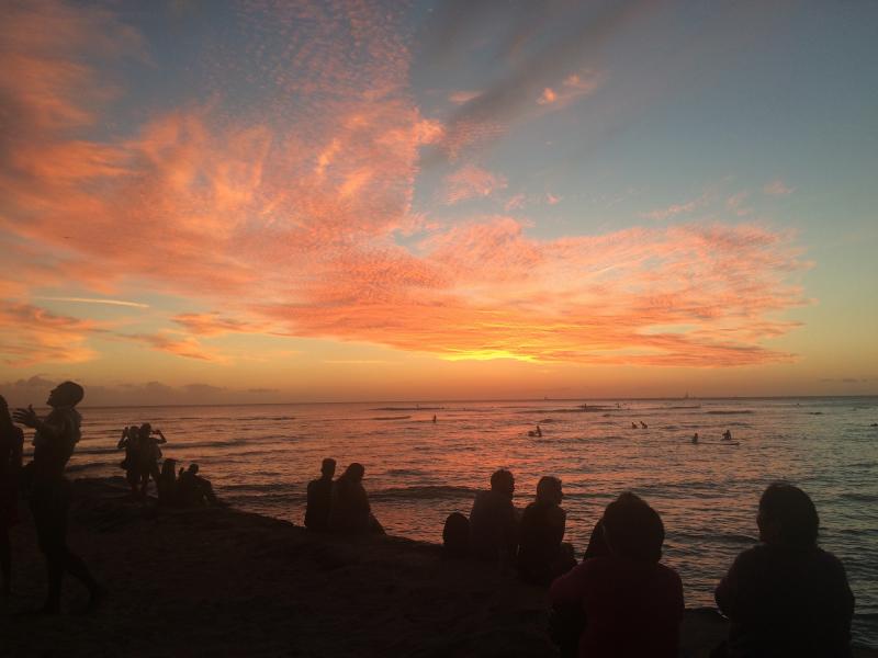 ワイキキビーチの夕陽(Waikiki Beach Sunset)