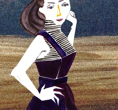 ジャンパースカートを着たモデルのイラスト