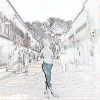 東茶屋街と女性のイラスト