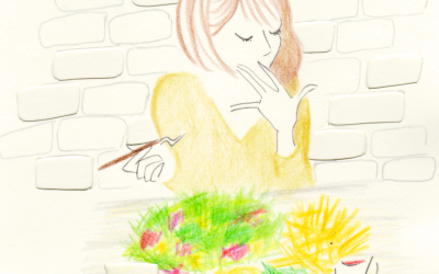 カフェで食事をする女の子のイラストレーション