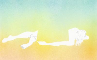 ロミロミのマッサージで癒される女性のイラスト