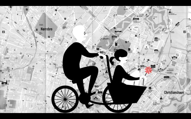 コペンハーゲンの自転車のイラスト